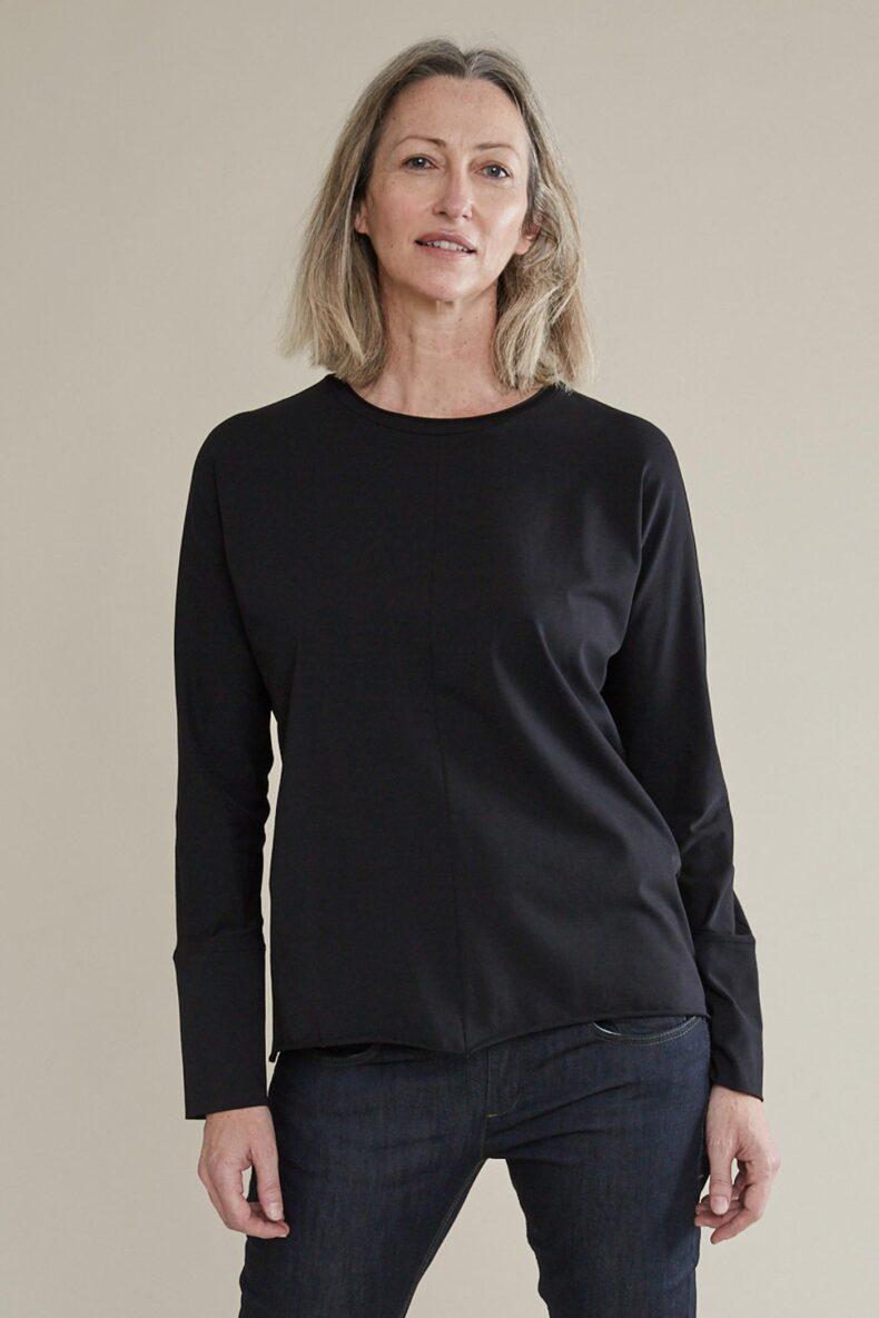 Langarm Shirt aus Biobaumwolle Sabine Portenier Basic Berlin Shirt Laufmeter