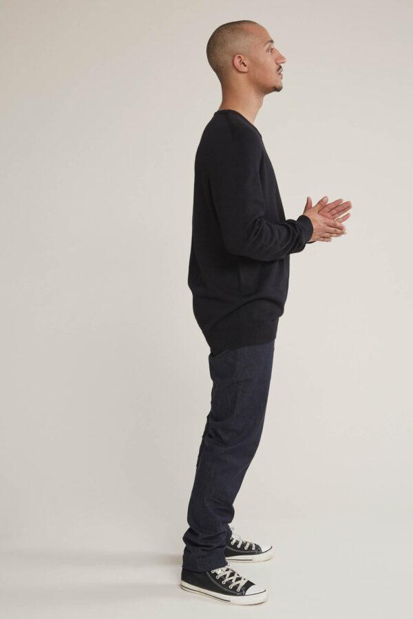 Laufmeter Adrian Reber Pullover Baumwolle Black Crew-Neck