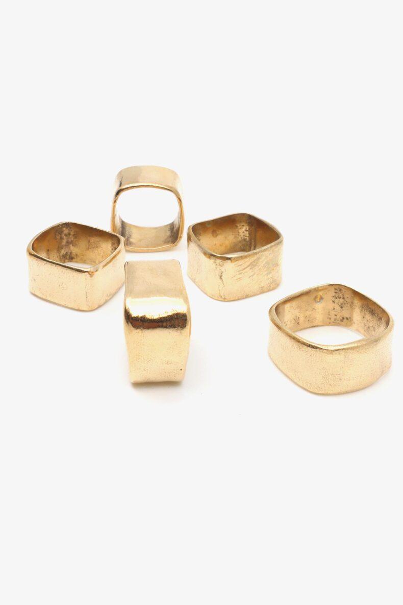 lili t. square ring bronze laufmeter handgeschmiedeter Ring